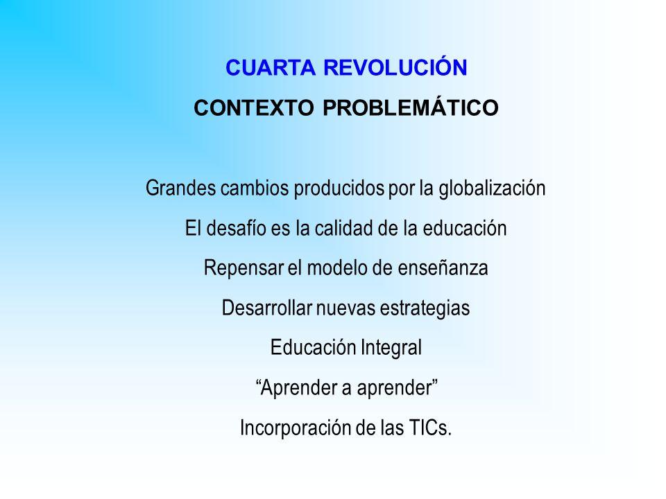 CUARTA REVOLUCIÓN CONTEXTO PROBLEMÁTICO Grandes cambios producidos por la globalización El desafío es la calidad de la educación Repensar el modelo de