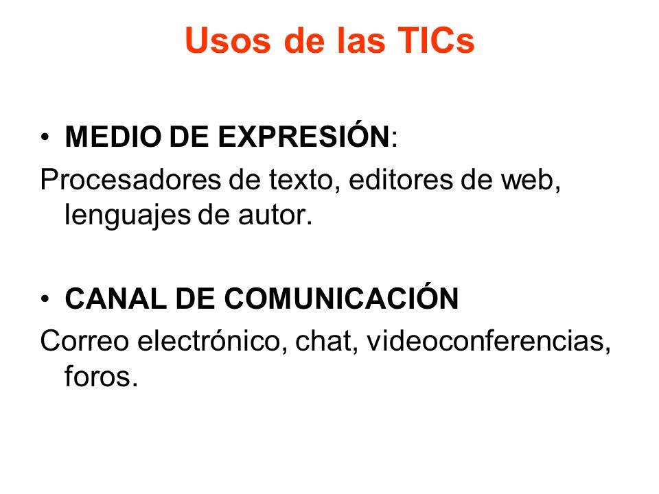 Usos de las TICs MEDIO DE EXPRESIÓN: Procesadores de texto, editores de web, lenguajes de autor. CANAL DE COMUNICACIÓN Correo electrónico, chat, video