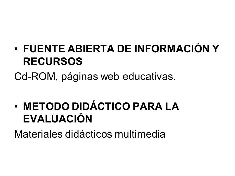 FUENTE ABIERTA DE INFORMACIÓN Y RECURSOS Cd-ROM, páginas web educativas. METODO DIDÁCTICO PARA LA EVALUACIÓN Materiales didácticos multimedia