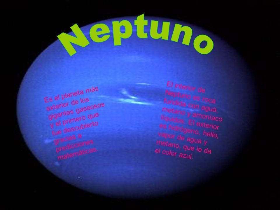 Es el planeta más exterior de los gigantes gaseosos y el primero que fue descubierto gracias a predicciones matemáticas. El interior de Neptuno es roc