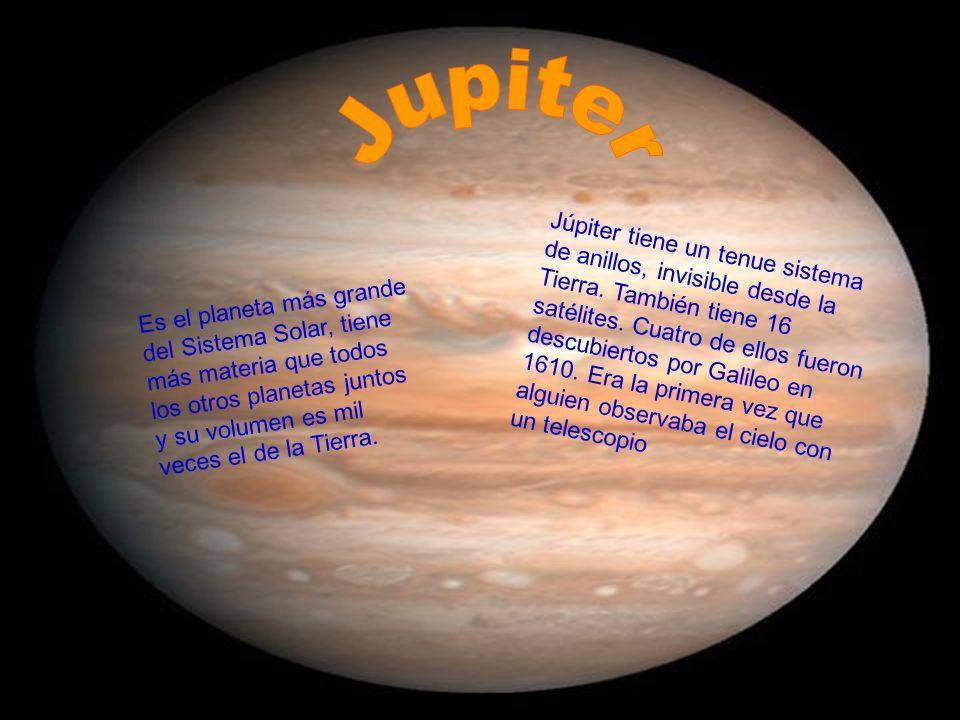 Es el planeta más grande del Sistema Solar, tiene más materia que todos los otros planetas juntos y su volumen es mil veces el de la Tierra. Júpiter t