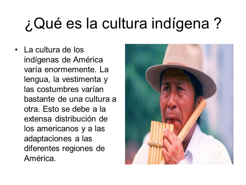 ¿Qué es la cultura indígena ? La cultura de los indígenas de América varía enormemente. La lengua, la vestimenta y las costumbres varían bastante de u