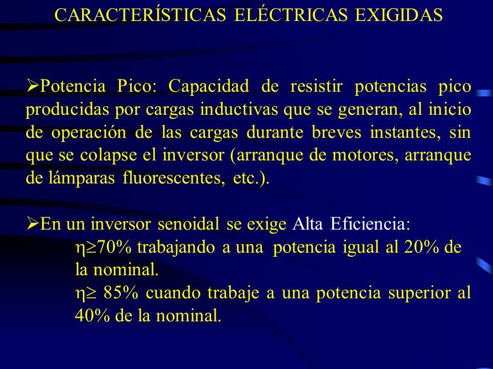 Potencia Pico: Capacidad de resistir potencias pico producidas por cargas inductivas que se generan, al inicio de operación de las cargas durante brev