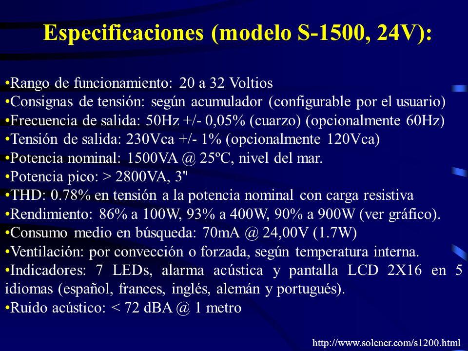 Especificaciones (modelo S-1500, 24V): Rango de funcionamiento: 20 a 32 Voltios Consignas de tensión: según acumulador (configurable por el usuario) F