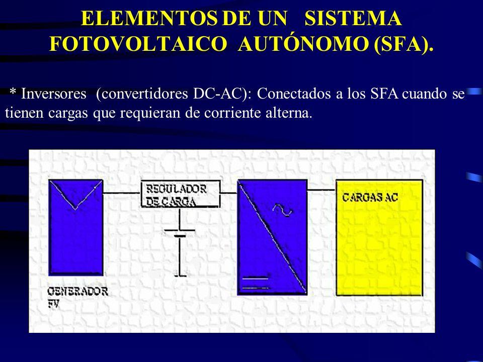 ELEMENTOS DE UN SISTEMA FOTOVOLTAICO AUTÓNOMO (SFA). * Inversores (convertidores DC-AC): Conectados a los SFA cuando se tienen cargas que requieran de