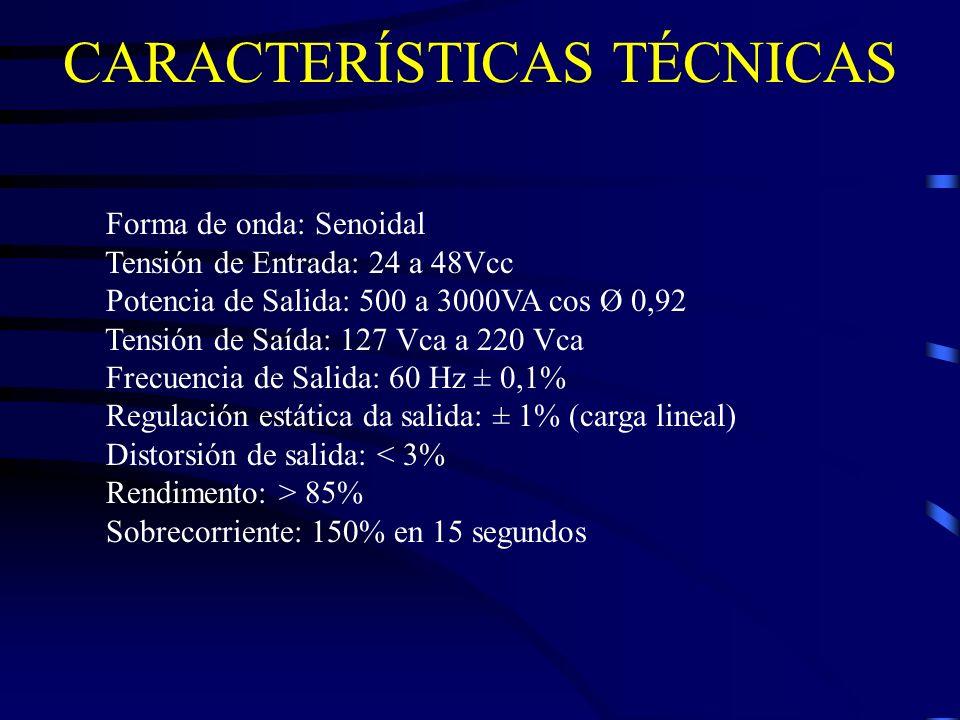 CARACTERÍSTICAS TÉCNICAS Forma de onda: Senoidal Tensión de Entrada: 24 a 48Vcc Potencia de Salida: 500 a 3000VA cos Ø 0,92 Tensión de Saída: 127 Vca