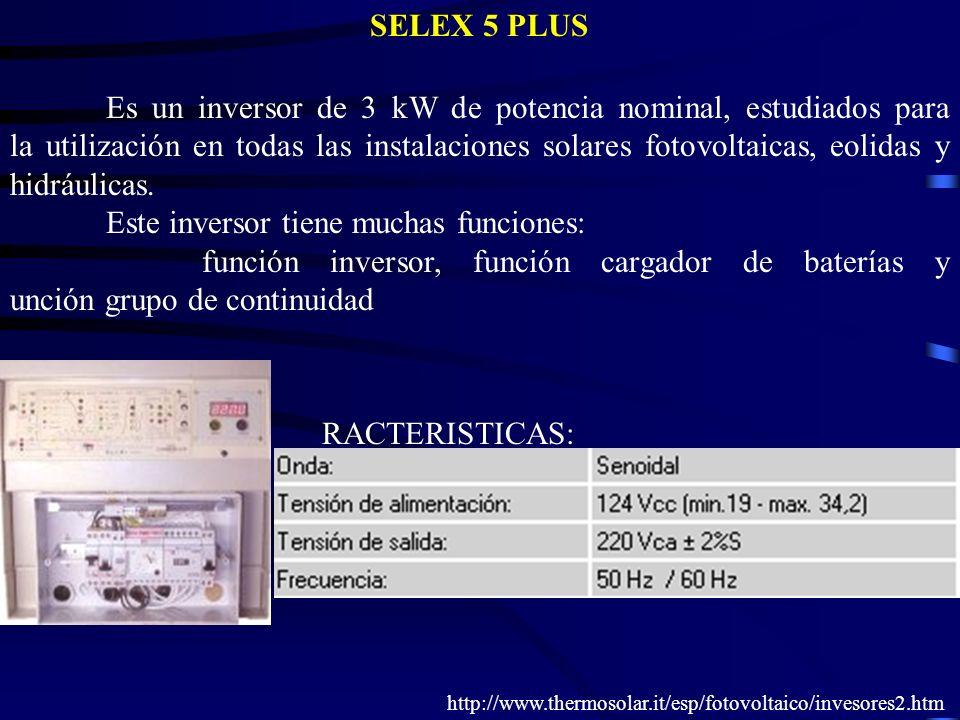 Es un inversor de 3 kW de potencia nominal, estudiados para la utilización en todas las instalaciones solares fotovoltaicas, eolidas y hidráulicas. Es