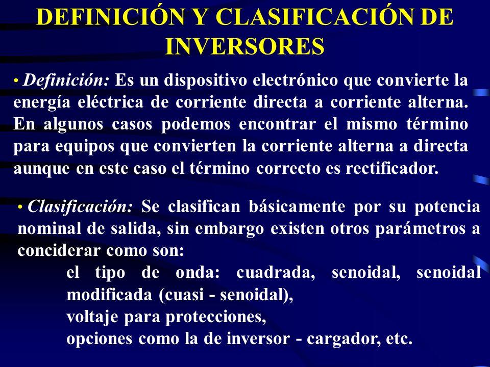 DEFINICIÓN Y CLASIFICACIÓN DE INVERSORES Definición: Es un dispositivo electrónico que convierte la energía eléctrica de corriente directa a corriente