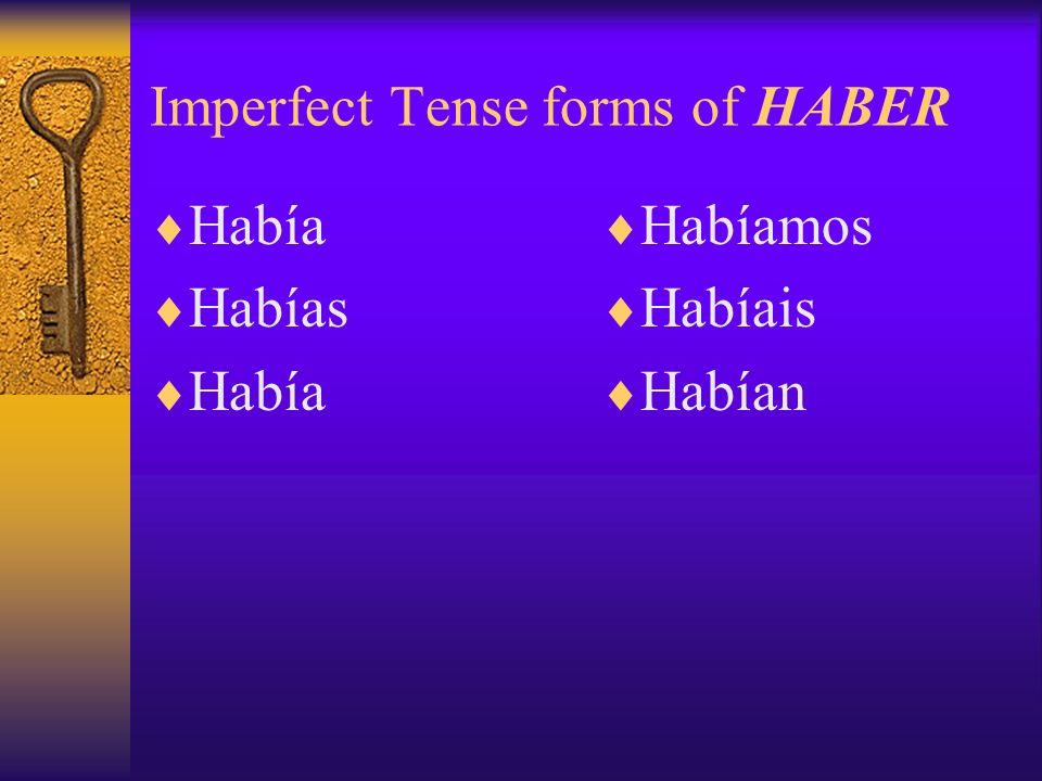 Imperfect Tense forms of HABER Había Habías Había Habíamos Habíais Habían