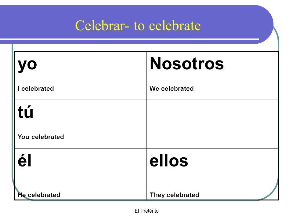 El Pretérito yo I celebrated Nosotros We celebrated tú You celebrated él He celebrated ellos They celebrated Celebrar- to celebrate
