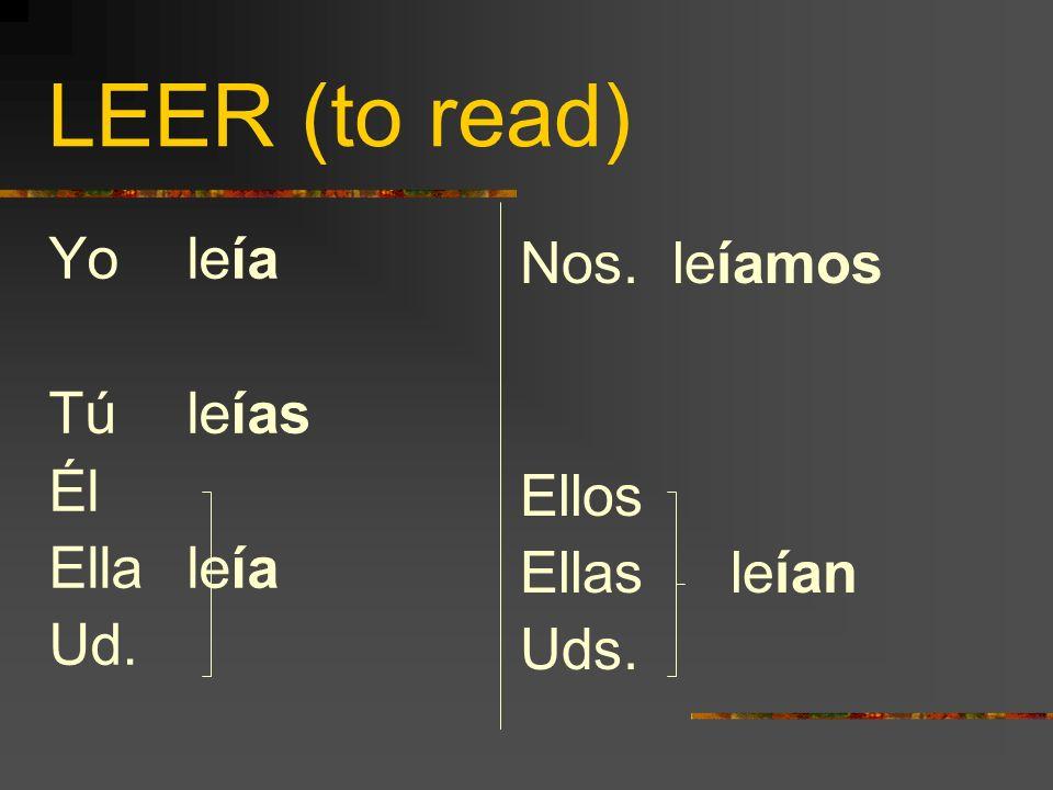 LEER (to read) Yo leía Tú leías Él Ella leía Ud. Nos. leíamos Ellos Ellas leían Uds.