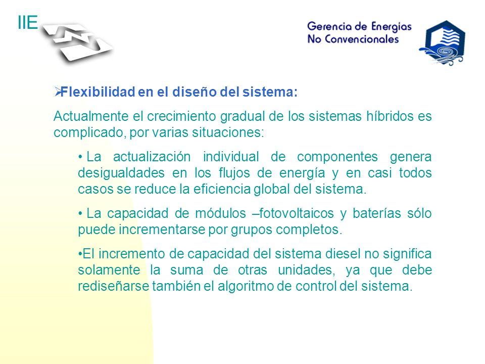 IIE Flexibilidad en el diseño del sistema: Actualmente el crecimiento gradual de los sistemas híbridos es complicado, por varias situaciones: La actua