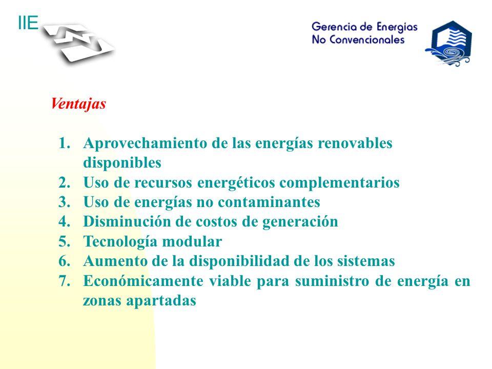 IIE Ventajas 1.Aprovechamiento de las energías renovables disponibles 2.Uso de recursos energéticos complementarios 3.Uso de energías no contaminantes