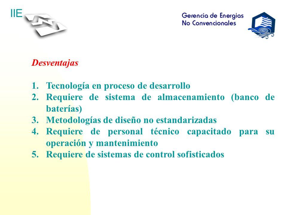 IIE Desventajas 1.Tecnología en proceso de desarrollo 2.Requiere de sistema de almacenamiento (banco de baterías) 3.Metodologías de diseño no estandar