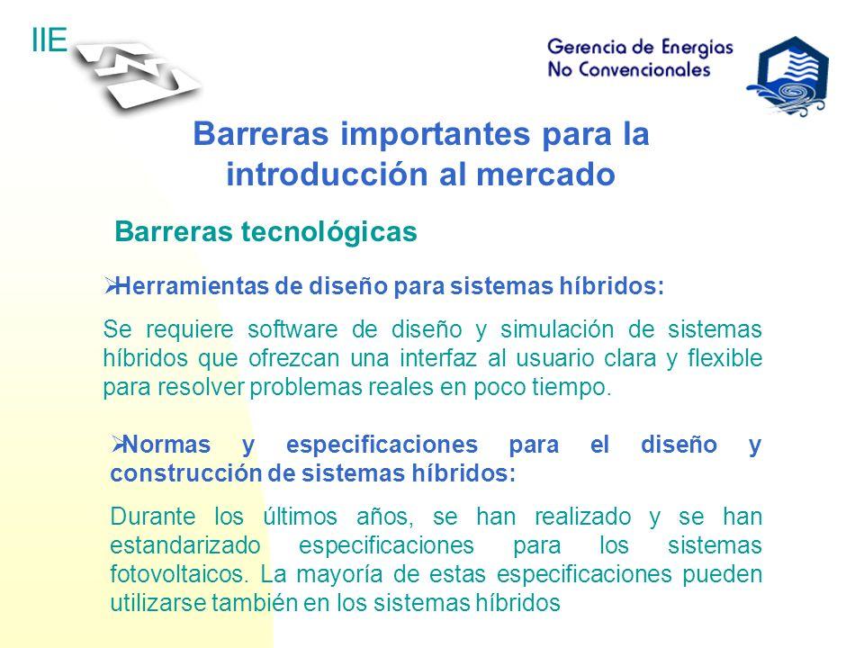 IIE Barreras importantes para la introducción al mercado Barreras tecnológicas Herramientas de diseño para sistemas híbridos: Se requiere software de