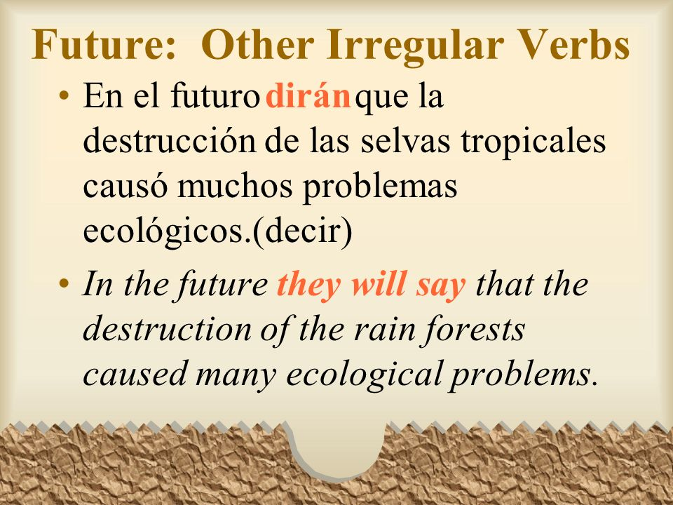 Future: Other Irregular Verbs Other verbs that have irregular stems in the future tense are: Decirdir- Ponerpondr- Quererquerr- Salirsaldr- Venirvendr-