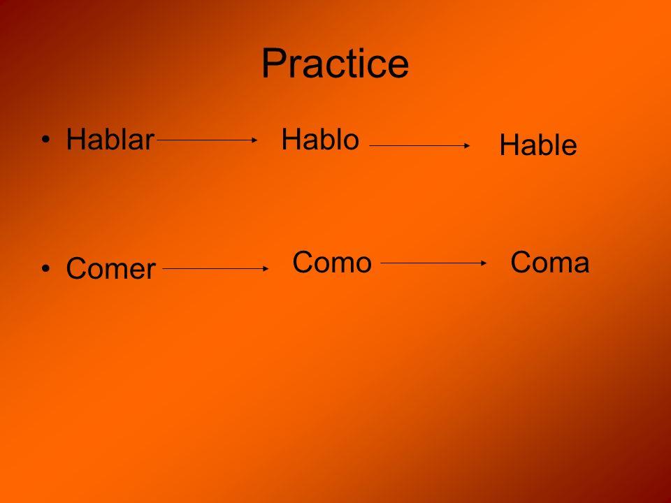 Practice Hablar Comer Hablo Hable ComoComa