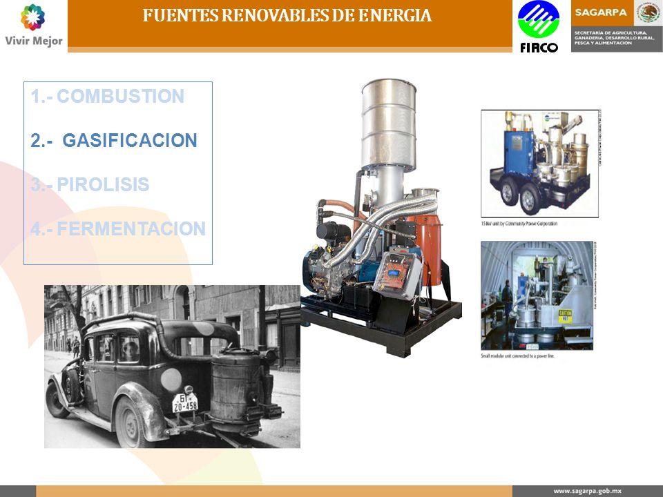 1.- COMBUSTION 2.- GASIFICACION 3.- PIROLISIS 4.- FERMENTACION