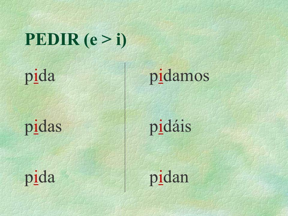 PEDIR (e > i) Yo Tú Usted Pili y yo Pili y tú Ustedes