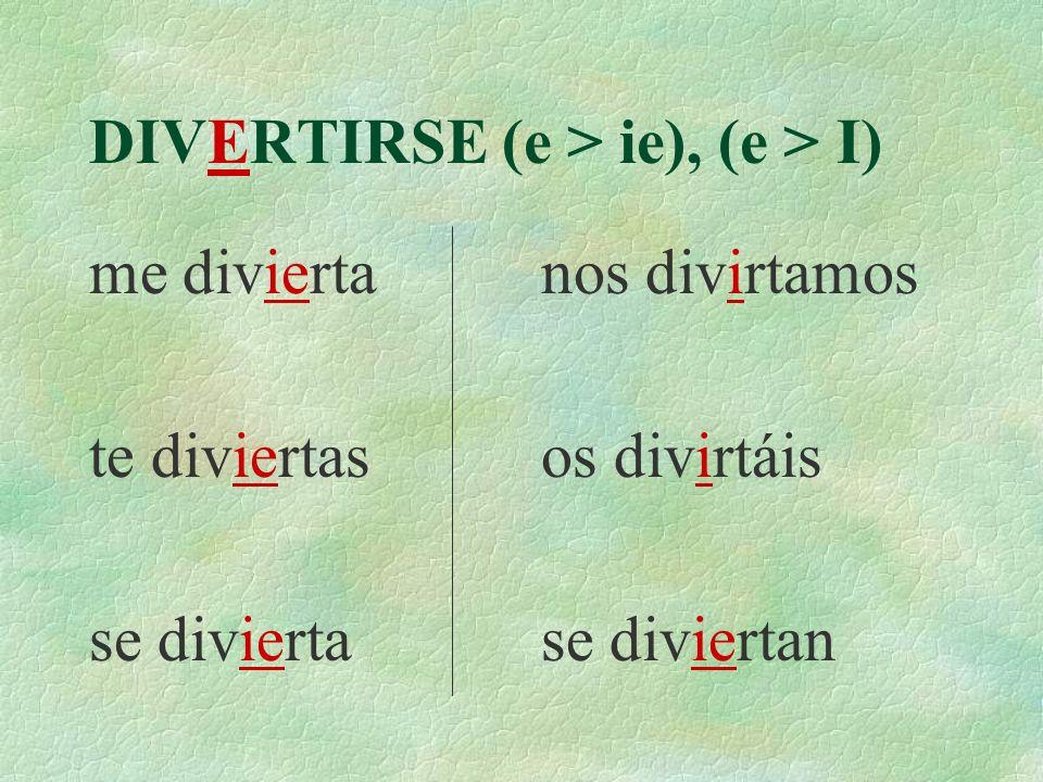 DIVERTIRSE (e > ie), (e > I) Yo Tú Él Nosotros Vosotros Ellos