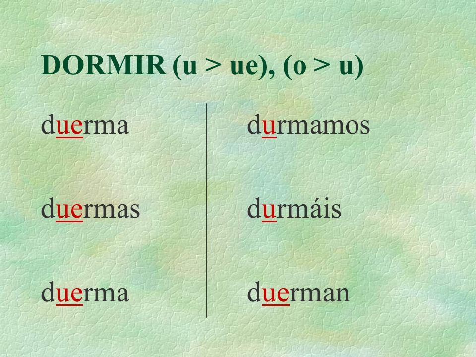 DORMIR (u > ue), (o > u) Yo Tú Ella Nosotros Vosotros Ellas