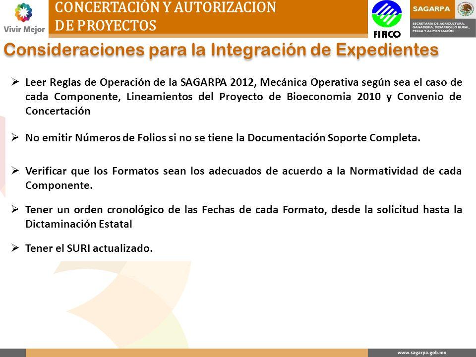 CONCERTACIÓN Y AUTORIZACION DE PROYECTOS Consideraciones para la Integración de Expedientes Leer Reglas de Operación de la SAGARPA 2012, Mecánica Oper