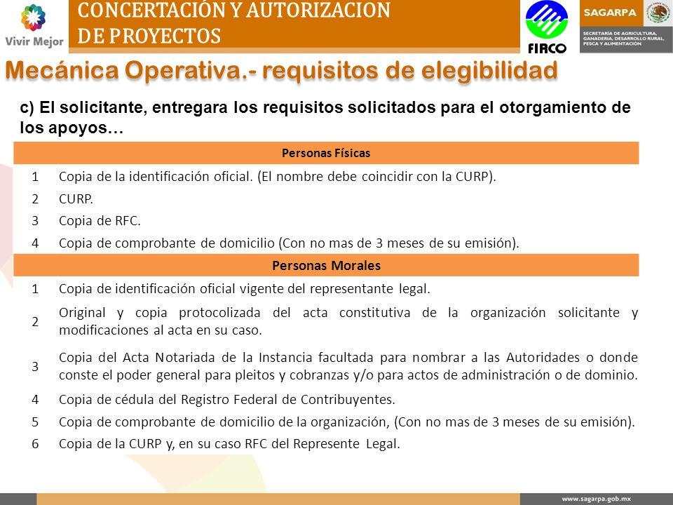 CONCERTACIÓN Y AUTORIZACION DE PROYECTOS Mecánica Operativa.- requisitos de elegibilidad c) El solicitante, entregara los requisitos solicitados para