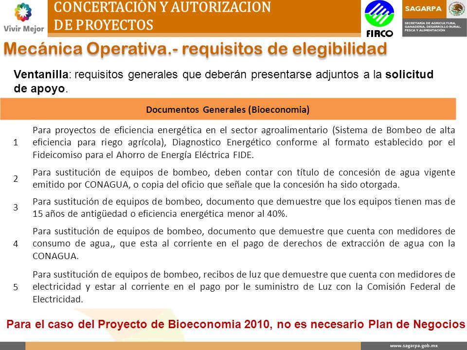 CONCERTACIÓN Y AUTORIZACION DE PROYECTOS Mecánica Operativa.- requisitos de elegibilidad Ventanilla: requisitos generales que deberán presentarse adju
