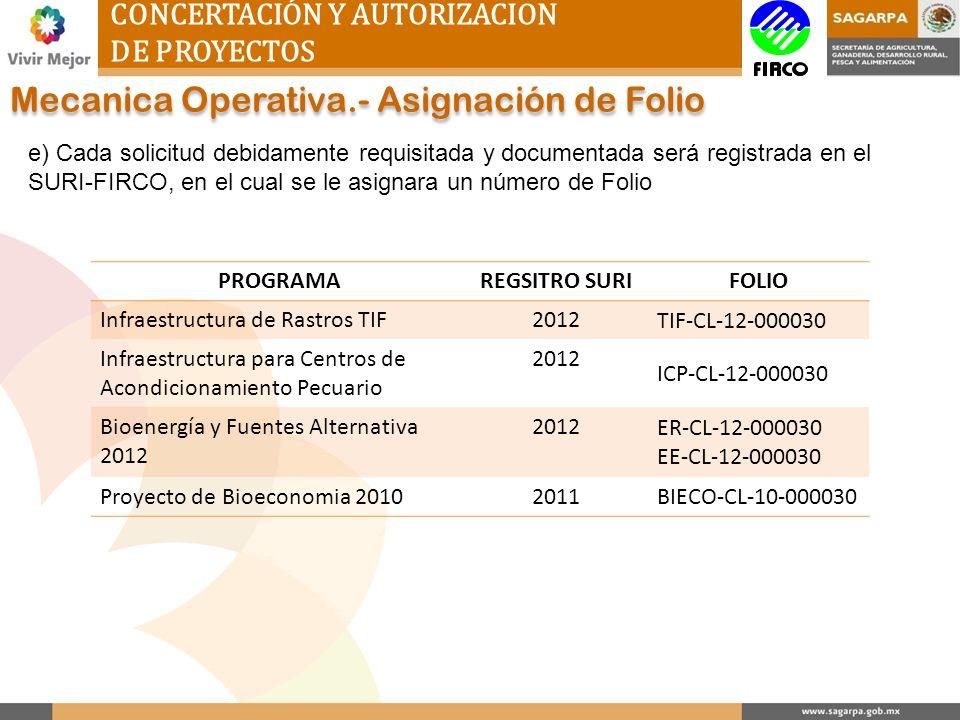 CONCERTACIÓN Y AUTORIZACION DE PROYECTOS Mecanica Operativa.- Asignación de Folio e) Cada solicitud debidamente requisitada y documentada será registr