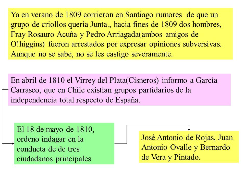 Ya en verano de 1809 corrieron en Santiago rumores de que un grupo de criollos quería Junta., hacia fines de 1809 dos hombres, Fray Rosauro Acuña y Pedro Arriagada(ambos amigos de O!higgins) fueron arrestados por expresar opiniones subversivas.
