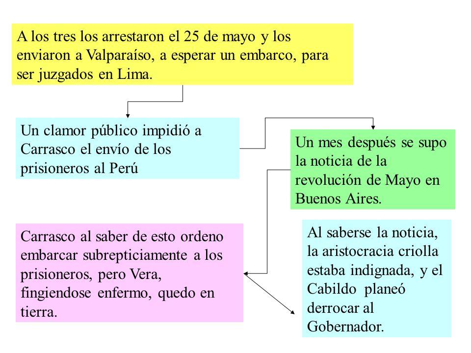 A los tres los arrestaron el 25 de mayo y los enviaron a Valparaíso, a esperar un embarco, para ser juzgados en Lima.