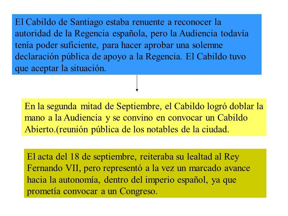 El Cabildo de Santiago estaba renuente a reconocer la autoridad de la Regencia española, pero la Audiencia todavía tenía poder suficiente, para hacer aprobar una solemne declaración pública de apoyo a la Regencia.