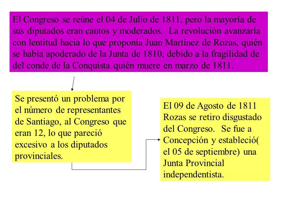 El Congreso se reúne el 04 de Julio de 1811, pero la mayoría de sus diputados eran cautos y moderados.