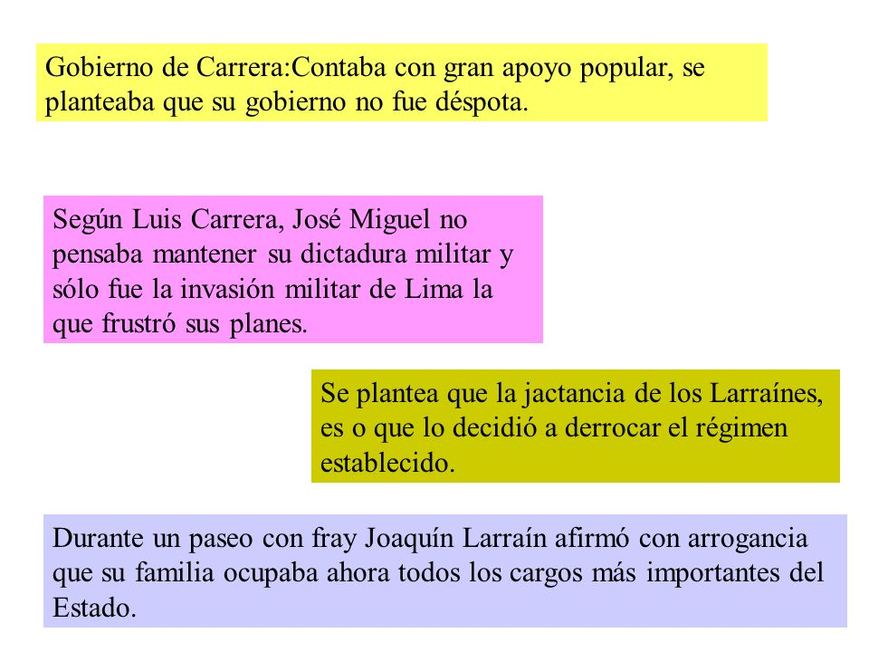 Gobierno de Carrera:Contaba con gran apoyo popular, se planteaba que su gobierno no fue déspota.