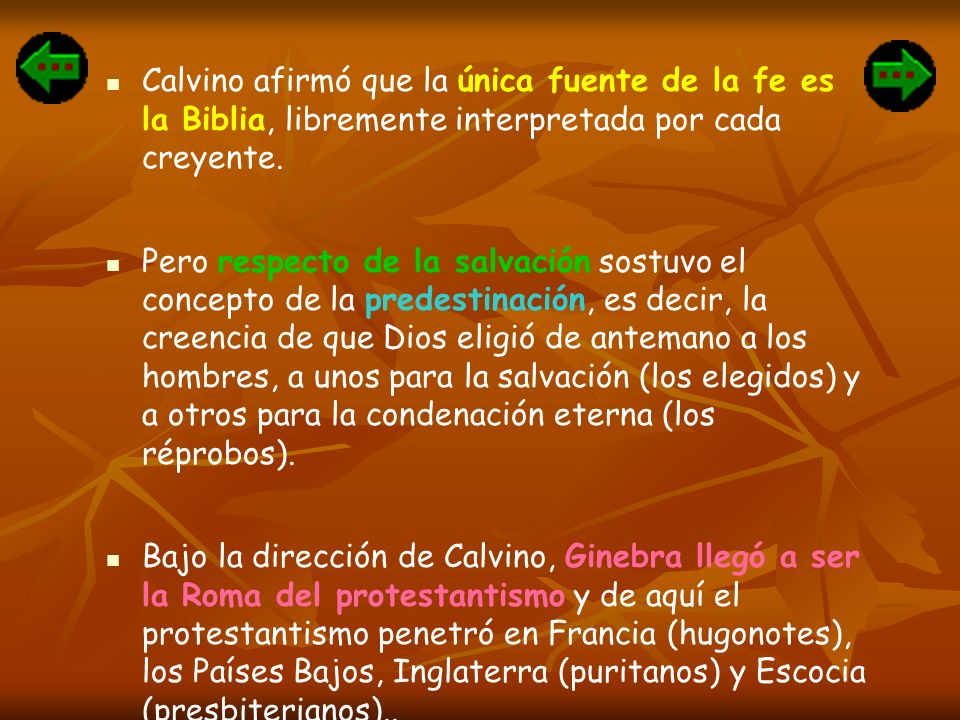 Calvino afirmó que la única fuente de la fe es la Biblia, libremente interpretada por cada creyente. Pero respecto de la salvación sostuvo el concepto