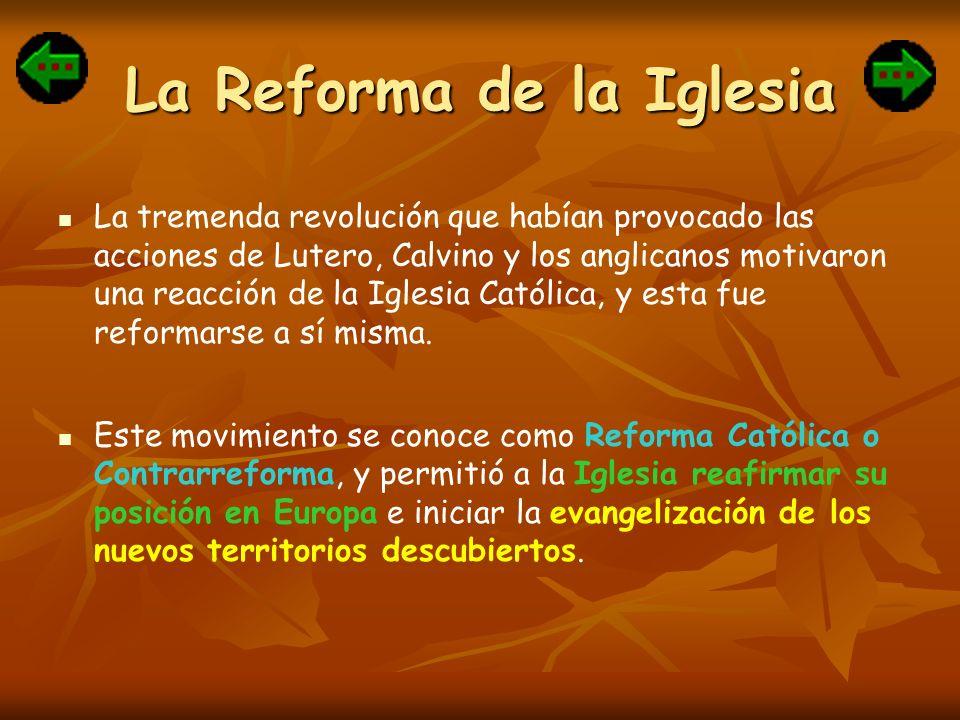 La Reforma de la Iglesia La tremenda revolución que habían provocado las acciones de Lutero, Calvino y los anglicanos motivaron una reacción de la Igl