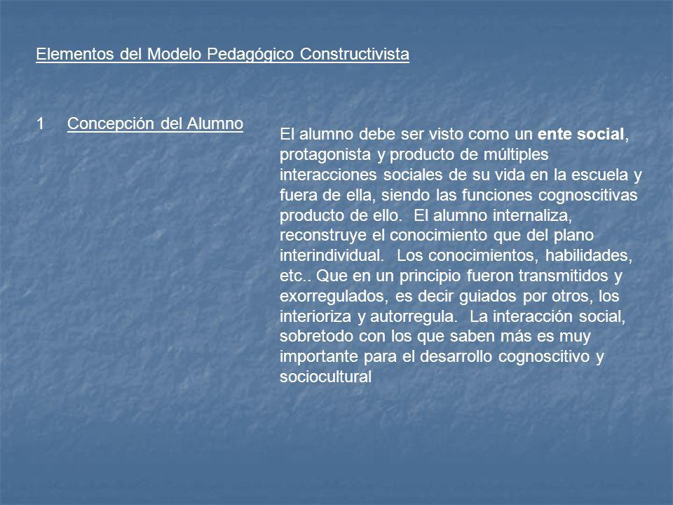 Elementos del Modelo Pedagógico Constructivista 1Concepción del Alumno El alumno debe ser visto como un ente social, protagonista y producto de múltip