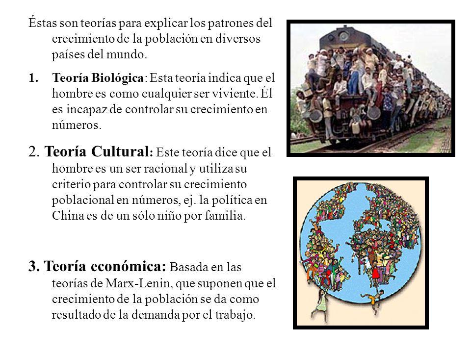 Éstas son teorías para explicar los patrones del crecimiento de la población en diversos países del mundo. 1.Teoría Biológica: Esta teoría indica que