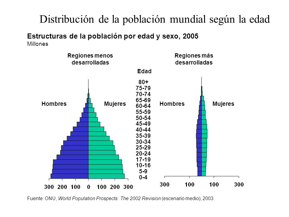 Estructuras de la población por edad y sexo, 2005 Millones Regiones menos desarrolladas Regiones más desarrolladas HombresMujeres 80+ 75-79 70-74 65-6