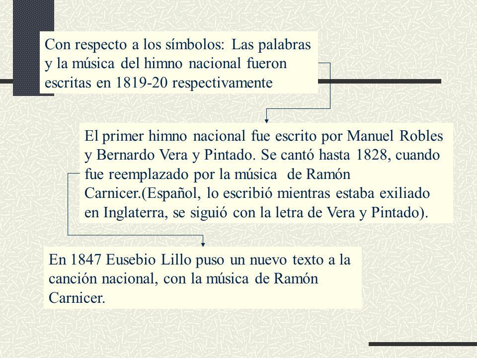 Con respecto a los símbolos: Las palabras y la música del himno nacional fueron escritas en 1819-20 respectivamente El primer himno nacional fue escri