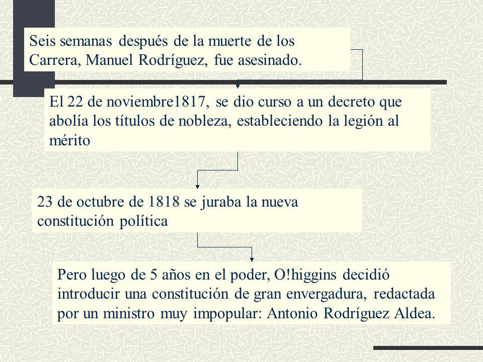 Seis semanas después de la muerte de los Carrera, Manuel Rodríguez, fue asesinado. El 22 de noviembre1817, se dio curso a un decreto que abolía los tí