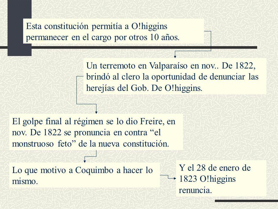 Esta constitución permitía a O!higgins permanecer en el cargo por otros 10 años. Un terremoto en Valparaíso en nov.. De 1822, brindó al clero la oport