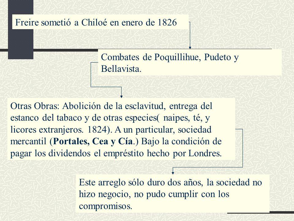 Freire sometió a Chiloé en enero de 1826 Combates de Poquillihue, Pudeto y Bellavista. Otras Obras: Abolición de la esclavitud, entrega del estanco de