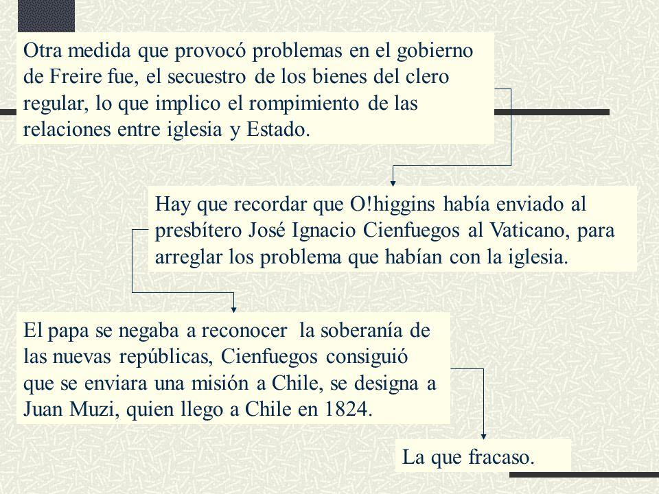 Otra medida que provocó problemas en el gobierno de Freire fue, el secuestro de los bienes del clero regular, lo que implico el rompimiento de las rel