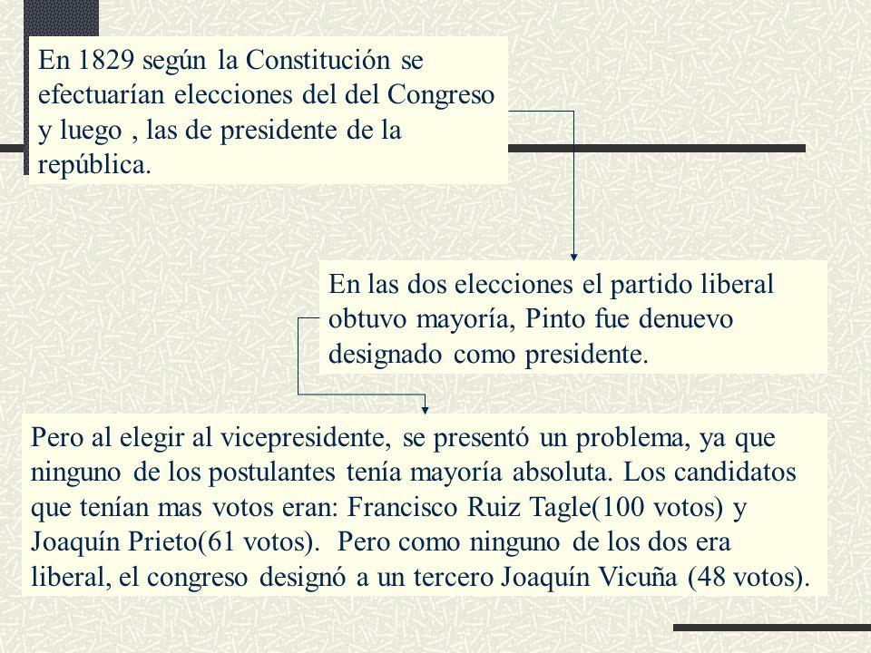 En 1829 según la Constitución se efectuarían elecciones del del Congreso y luego, las de presidente de la república. En las dos elecciones el partido