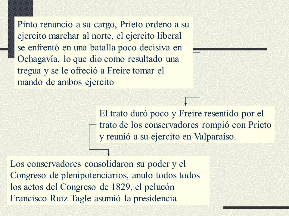 Pinto renuncio a su cargo, Prieto ordeno a su ejercito marchar al norte, el ejercito liberal se enfrentó en una batalla poco decisiva en Ochagavía, lo