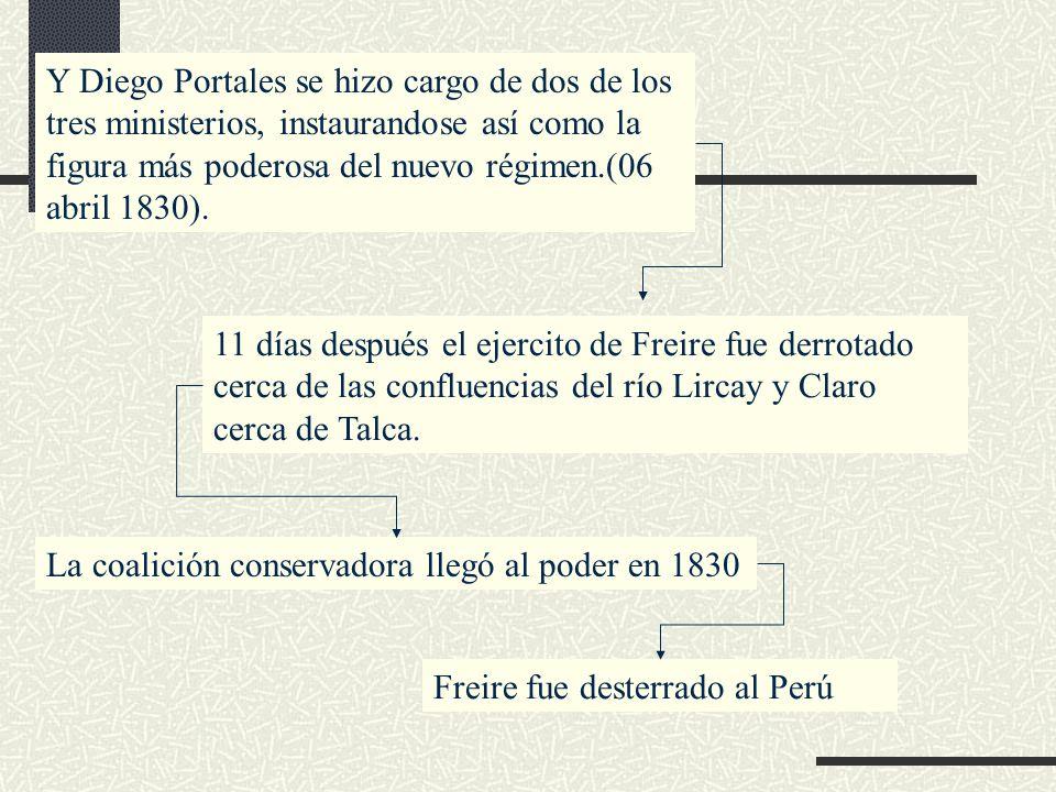 Y Diego Portales se hizo cargo de dos de los tres ministerios, instaurandose así como la figura más poderosa del nuevo régimen.(06 abril 1830). 11 día