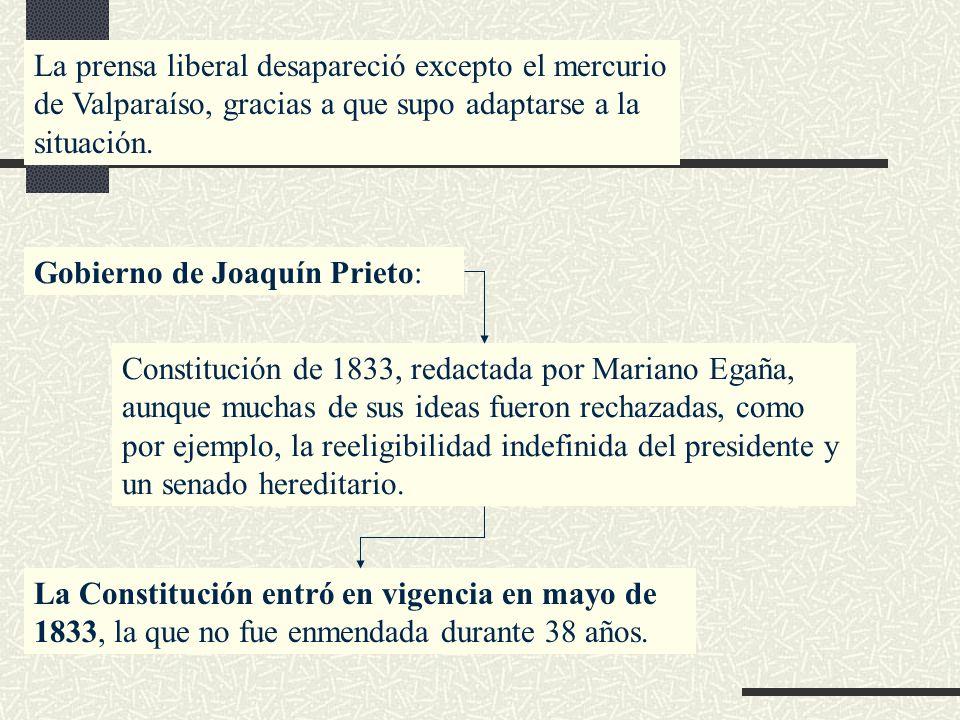La prensa liberal desapareció excepto el mercurio de Valparaíso, gracias a que supo adaptarse a la situación. Gobierno de Joaquín Prieto: Constitución