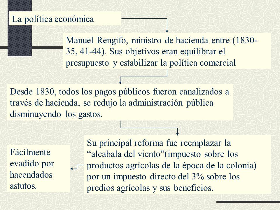 La política económica Manuel Rengifo, ministro de hacienda entre (1830- 35, 41-44). Sus objetivos eran equilibrar el presupuesto y estabilizar la polí