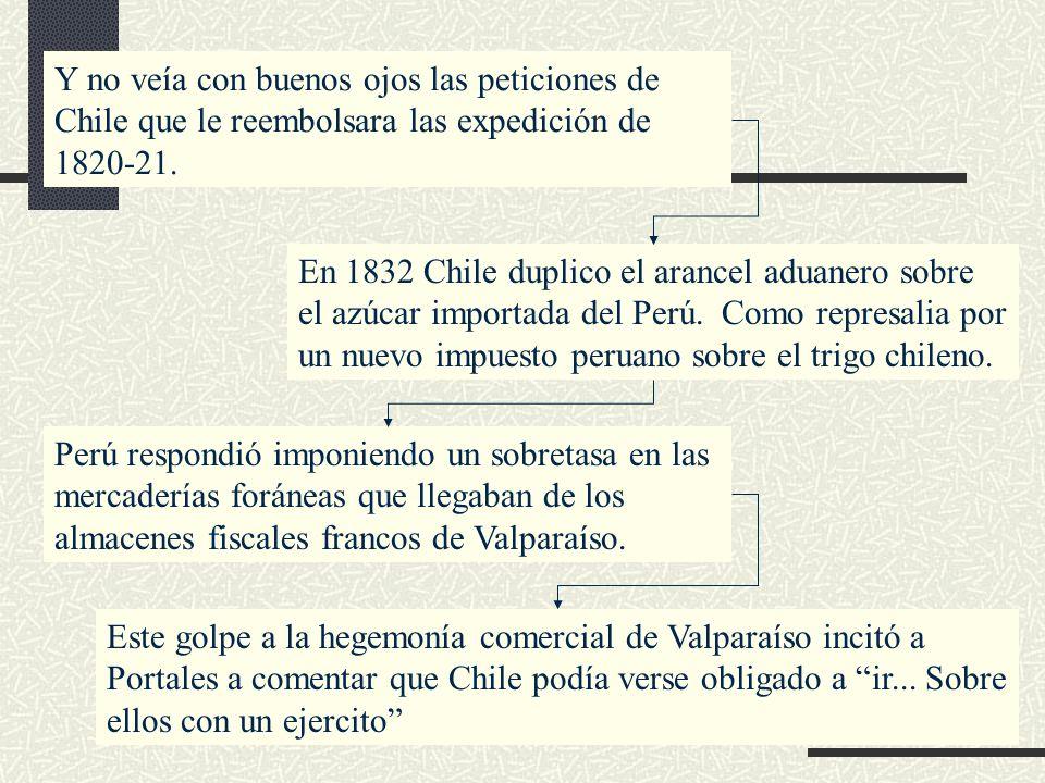 Y no veía con buenos ojos las peticiones de Chile que le reembolsara las expedición de 1820-21. En 1832 Chile duplico el arancel aduanero sobre el azú